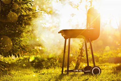 Barbecue grill in sunlight in the garden
